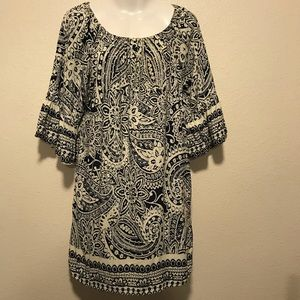 Umgee Cream and Navy Bell Sleeved Mini Dress
